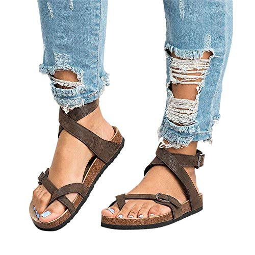 Chenghe Women's Fashion Flat Ankle Buckle Sandals Gladiator Thong Flip Flop Mayari Sandals Brown US 9.5 ()