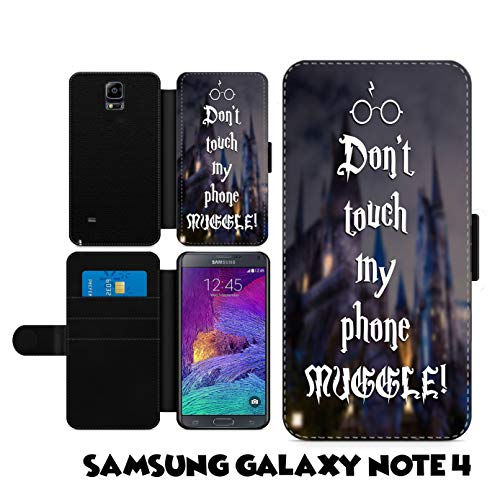 c riveras Harry Potter Inspired Dont Touch My Phone case Fan Art Faux Leather flip Wallet Mobile Cover for Samsung Galaxy Note -