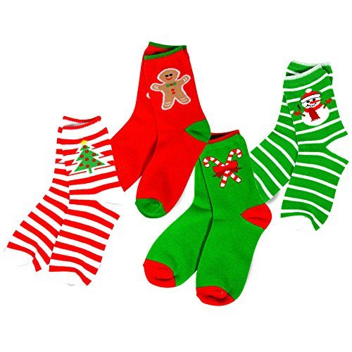Price comparison product image TeeHee Christmas Kids Cotton Fun Crew Socks 4-Pair Pack (6-8Y, Stripe Tree Snowman Candy Cane)