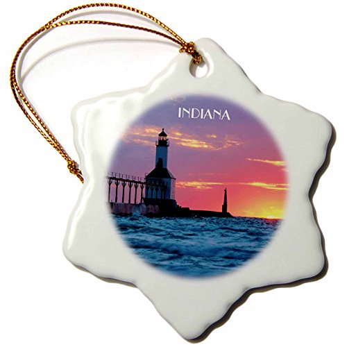 3dRose ORN_62523_1 Lighthouse at Michigan City Indiana Snowflake Porcelain Ornament, 3-Inch (Michigan City Lighthouse)
