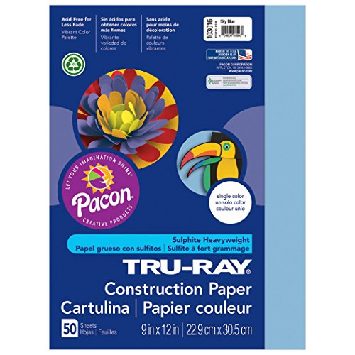Pacon Tru-Ray Construction Paper, 9-Inches by 12-Inches, 50-Count, Sky Blue (103016)