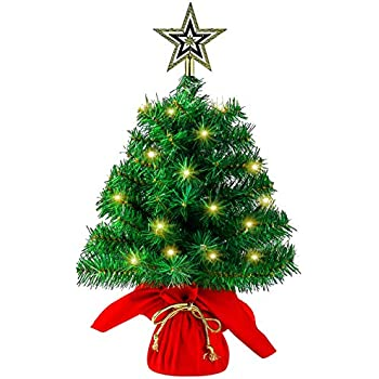 Sunnyglade 22Inch Tabletop Christmas Tree Mini Artificial Christmas Tree with 35 LED Lights for Table Top Desk Classic Series Holiday Decoration (Green)