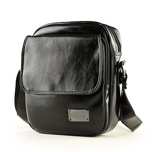 Sincere® La bolsa de mensajero del bolso de hombro de cuero / hombre mochila bolsa estudiante / ocio al aire libre / de los hombres de negocios a través del pequeño paquete-negro