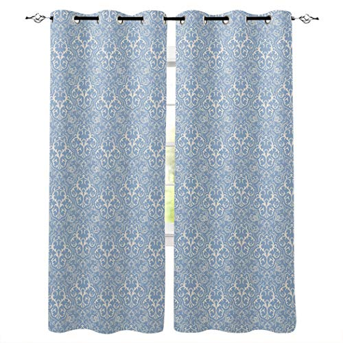 Fantasy Staring Thermal Insulated Blackout Curtain for Bed Room- Blue and White Floral Pattern Darkening Blackout Curtain with Grommet