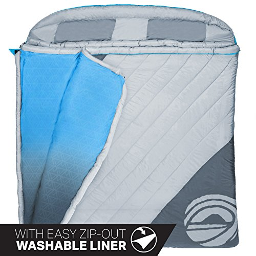 """Wildhorn King Cove 30°F Premium Double Sleeping Bag. Massive 86"""" L X 72"""" W, Removable Washable Interior Liner, Double to Single Conversion."""