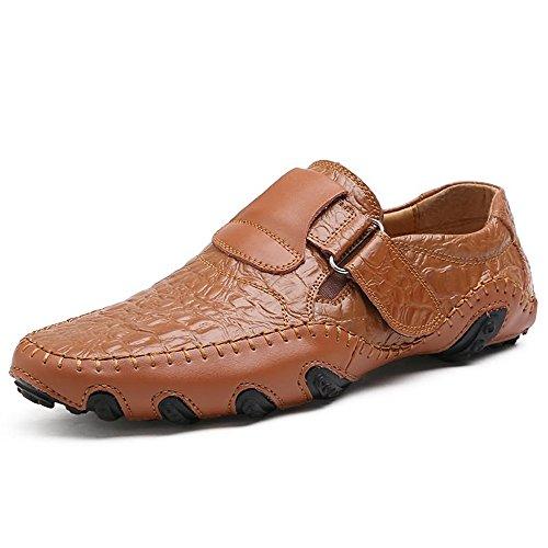 shoes EU 47 uomo Da piatta con Dimensione pelle 40 alla da vera Scarpe Color fino fodera taglia Mocassini On fibbia in Marrone Shufang piatta Mocassini Slip Uomo 2018 e dqwgdHnOf