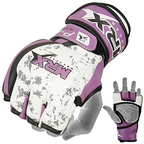 Boxing Fight Punch Glove Rex Leather MRX Purple MMA Grappling Gloves UFC Cage