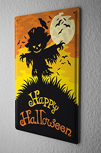 [Tin Sign Happy Halloween scary scarecrow with moon and bats comic cartoon satire 20x30 cm metal shield Shield Wall Art Deco decoration retro] (Scary Scarecrow)