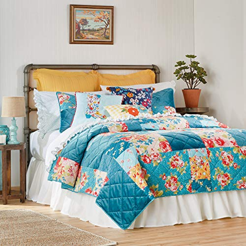 The Pioneer Woman Pioneer Patchwork Quilt, Colorful, Soft, Cotton Print, Solid Velvet Patchwork, Full/Queen