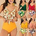 Women Two Pieces Ruffle High Waisted Bikini Set Mitiy V Neck Printed Swimwear Bathing Suit