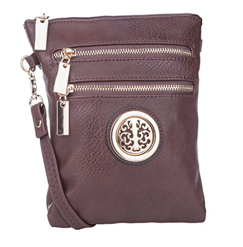 MKF Collection Woman's Crossbody Bag Multi Zipper Travel Shoulder Messenger Purse
