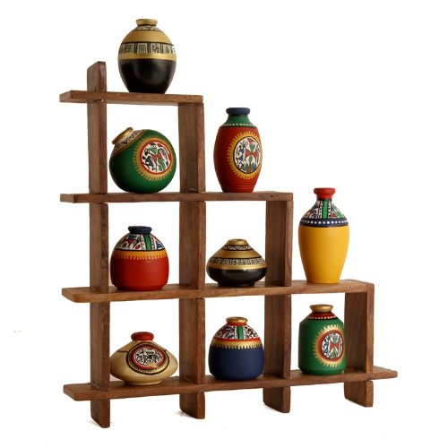 Unravel India 9 Warli painted pots with Sheesham Wooden Frame