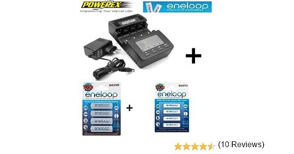 Cargador Powerex MH-C9000 WizardOne + Sanyo eneloop HR-3UTGA - Pilas AA (Paquete de 4) + Sanyo eneloop HR-4UTGA - Pilas AAA (Paquete de 4)