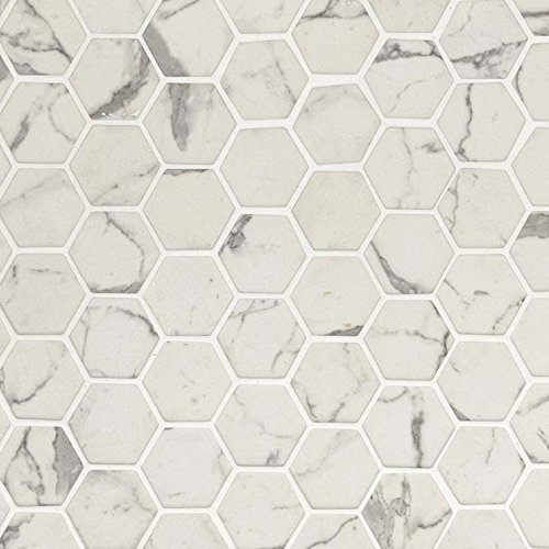 2' Glass Mosaic Tile - Staturio White Carrara Statuary 2'' Hexagon Floor Wall Mesh Mounted Mosaic Tile