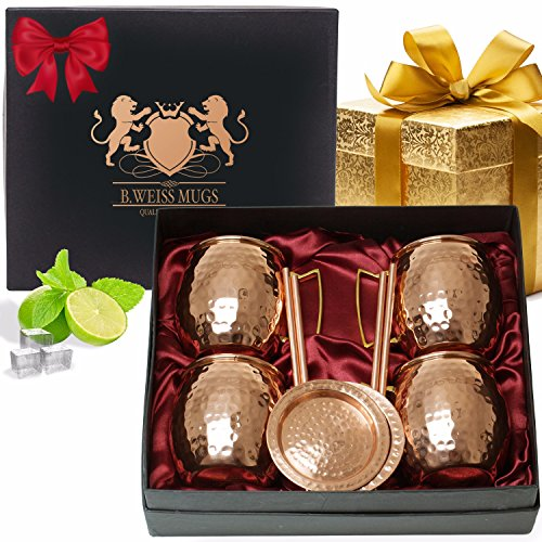 B.WEISS Moscow Mule Copper Mugs Gift Set Of 4, All Inclusive Set 18 Oz Hand Crafted mugs 100% Pure Solid Copper Comes in an elegant gift box+BONUS 4 copper straws+4 copper coasters