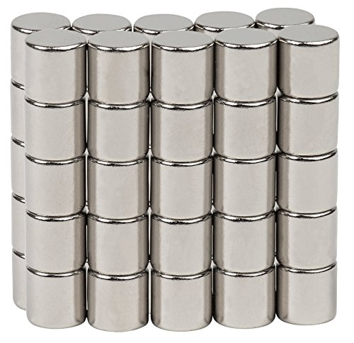 (BYKES 50 Neodymium Super Strong Extremely Powerful Rare Earth Refrigerator Magnets 1/8 x 1/8 inch Cylinder N48)