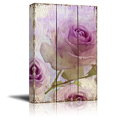 Branches of Purple Roses Over Wooden Panels with Watercolor Background Nature