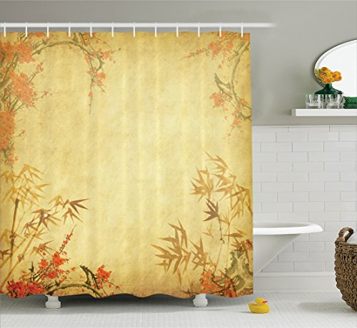 Ambesonne Bamboo House Decor Shower Curtain Stems And Blooming Flower On Antique Grunge Background