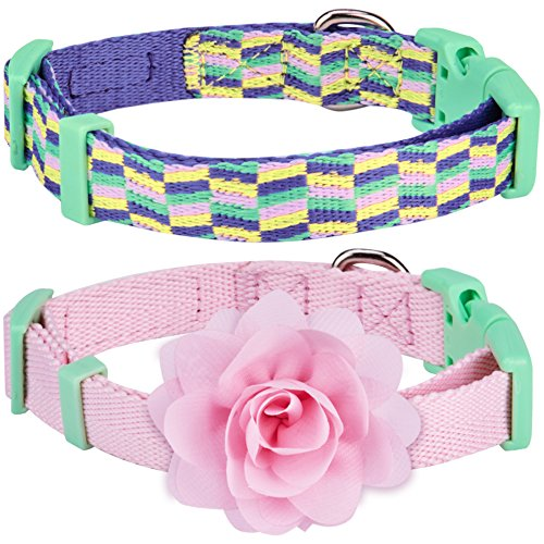 Blueberry-Pet-Pack-of-2-Multiple-Designs-Mix-and-Match-Pretty-Picks-Dog-Collar-for-Puppies-Small-Dogs-with-Pink-Flower-Accessory-S-Neck-12-16