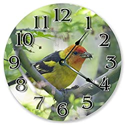 10.5 WESTERN TANAGER CLOCK - Large 10.5 Wall Clock - Home Décor Clock