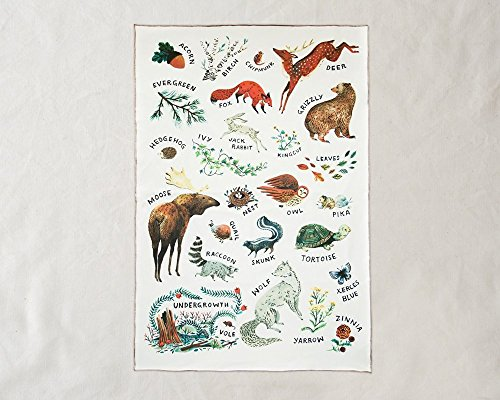 Wildship Studio 100% Organic Cotton Baby Blanket, Woodland Alphabet Animals by Wildship Studio