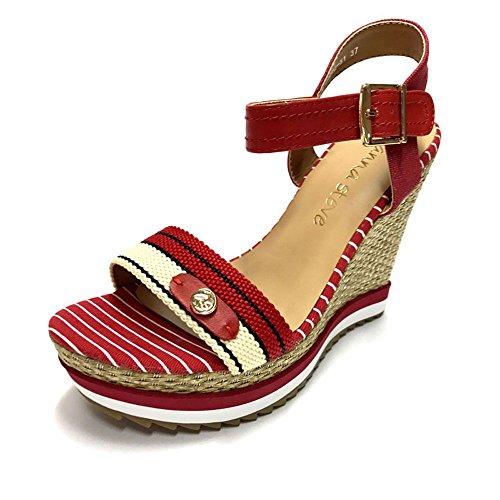 Sandalia cuña tejido rojo y blanco. Rojo