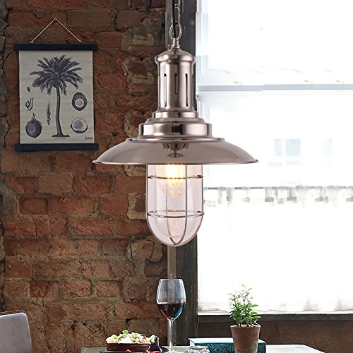MSTAR 1-Light E26 Pendant lamp, Retro Industrial Warehouse Ceilingt Lighting, Industrial Vintage Hanging Pendant Light Fixture for Dining Room Kitchen Island Café Bar Resaurant(Satin (Canopy Adjustable Height Light Fixture)