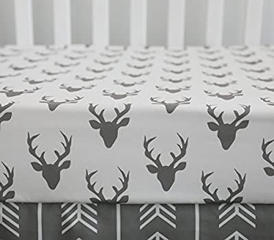 Woodland Baby Quilt Rustic Forest Grey White Tribal Native Baby Bedding Aqua Arrows Feather Stag Buck Heads Nursery Bedding Navy