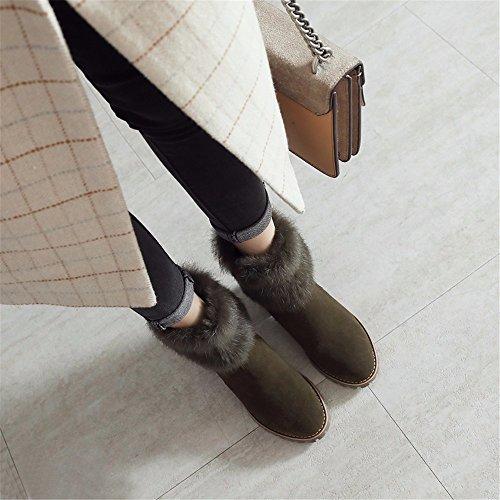 HXVU56546 Damen Stiefel Stiefel Cotton Boots Winter Dicke Stiefel Und Samt Martin Stiefel, 37, Schwarz ArmyGreen