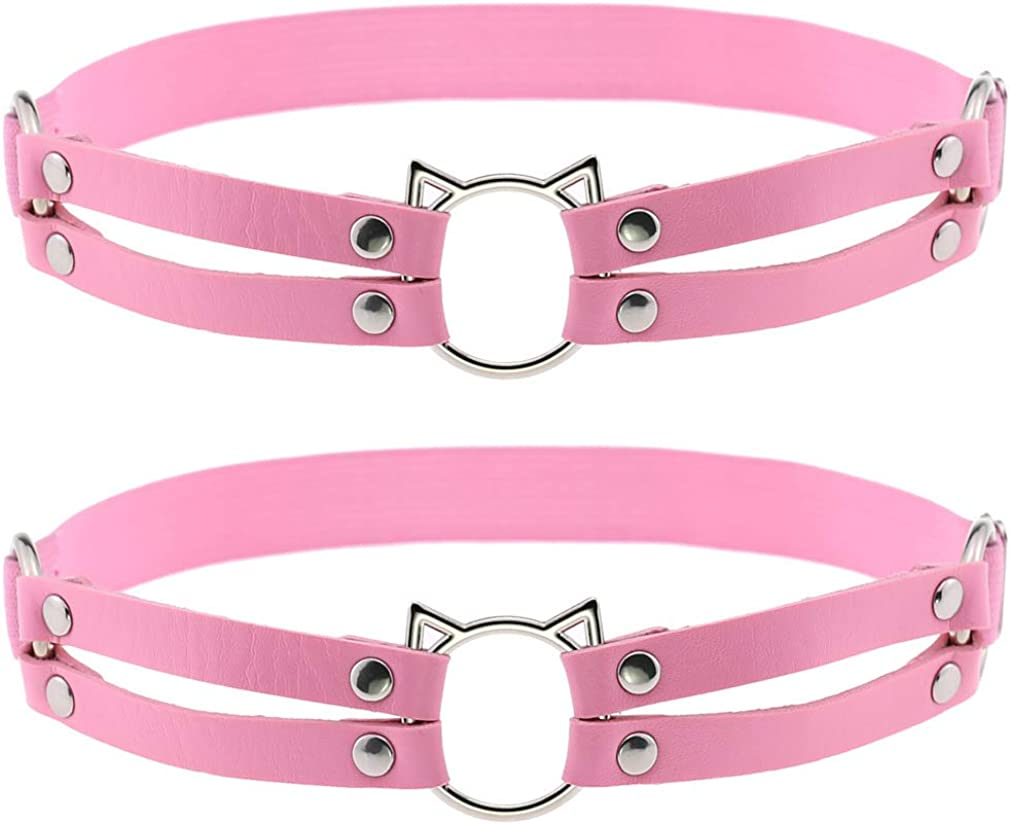 Women Girl Leather Hollow Cat Garters Punk Rock Rivet Leg Elastic Garter Leg Ring Anti-Slip Cosplay Harness 2pcs