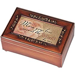 Mom Your Love Wood Finish Rose Jewelry Music Box - Plays Tune You Are My Sunshine