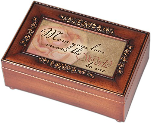 Box Mom Music - Cottage Garden Mom Your Love Means The World Burlwood Jewelry Music Box Plays You are My Sunshine