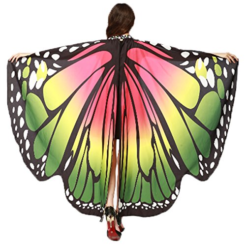 Not So Scary Halloween Party Costumes (Halloween/Party Prop Soft Fabric Butterfly Wings Shawl Fairy Ladies Nymph Pixie Costume Accessory (Rose Green))
