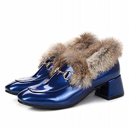 Charm Foot Womens Mocassini Con Tacco Medio In Pelle Verniciata Blu