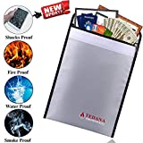 [Upgrade Version] Tedana Fireproof Bag - Fire and Water Resistant Document Holder - Silicone Coated Fiberglass Sleeve for Insulation Protect - Double Layer Heat Protection - Bonus A4 Zip Bag and Ebook