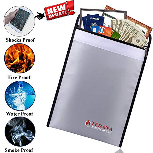 [Upgrade Version] Tedana Fireproof Bag - Fire and Water Resistant Document Holder - Silicone Coated Fiberglass Sleeve for Insulation Protect - Double Layer Heat Protection - Bonus A4 Zip Bag and Ebook by Tedana