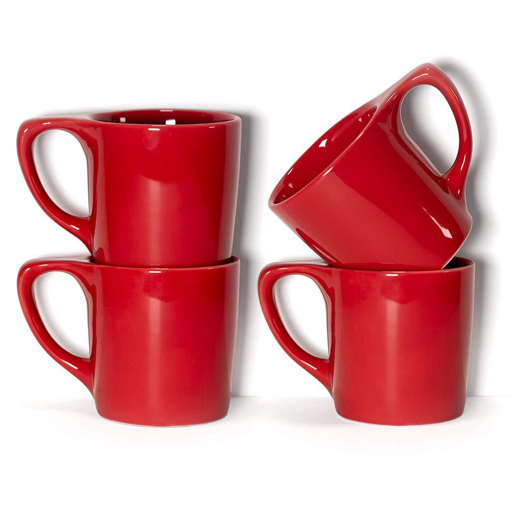 notNeutral 01501771R LINO Coffee Mugs, Set of 4, Rhubarb Red