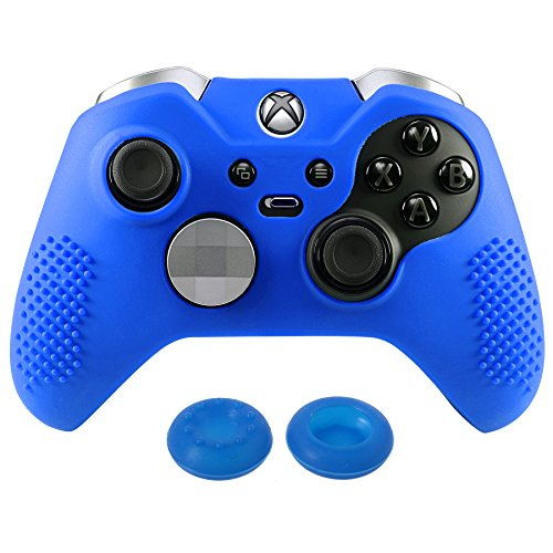 eXtremeRate Soft Anti-Slip Silicone Controller Cover Skins Thumb Grips Caps Protective Case for Microsoft Xbox One Elite Dark Blue