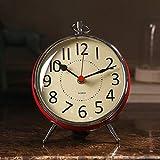 CXQ Modern European Style Desk Clock Bedroom Silent Mute Clock Home Red Clock