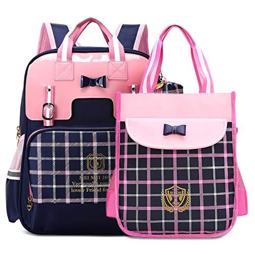 British Style Girls Backpacks for School Princess Bowknot Kids Bookbags (Large, Navy)