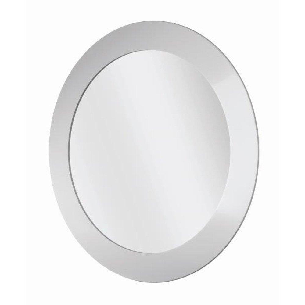 Blue Canyon - Miroir de salle de bain rond avec support mural - Rebord blanc - 40 cm de diamètre