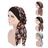 3 Colors Pack Chemo Cancer Head Scarf Hat Cap Ethnic Cloth Print Turban Headwear