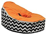 LCY Baby Bean Bag Chair/Bed Waves Orange-UNFILLED
