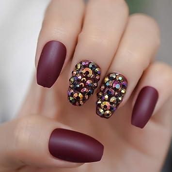 Qulin uñas postizas granate uñas atractivos Rhinestone Custom lujo ...