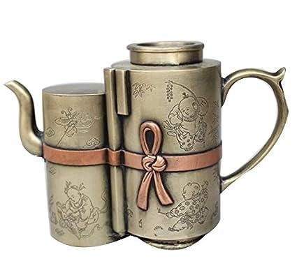 Tetera de cobre artesanía antigua colección antiguo haga bronce viejo Adornos decoración del hogar Doble Pot