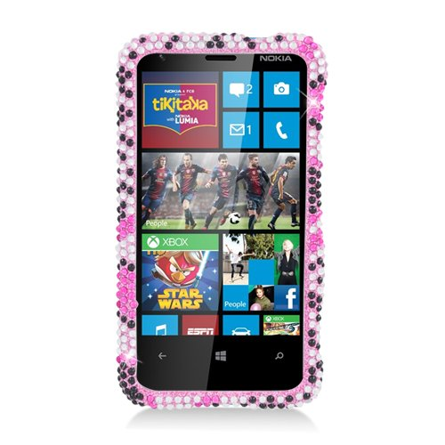 Eagle Cell Nokia Lumia 620 Diamond Dazzle Bling Phone Case - Retail Packaging - Pink/Black Heart