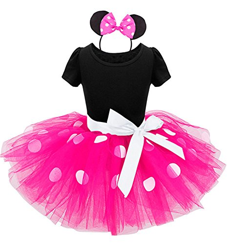 Minnie Costume Baby Girl Dress Mouse Ear Headband Polka Dot Dress -