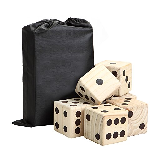 Hathaway High Roller yd Dice Set with 6 x 3.5-in Wooden Dice & Black Nylon Storage Bag, Reusable Scorecard Included yd Dice, Wood (High Roller Dice)