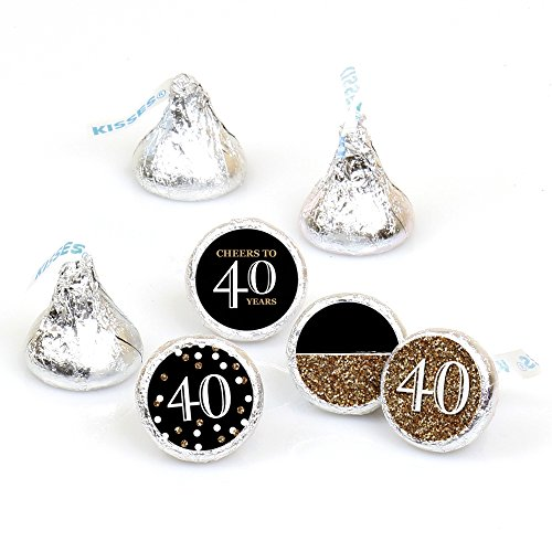 (Adult 40th Birthday - Gold - Round Candy Sticker Favors - Labels Fit Hershey's Kisses (1 sheet of 108))