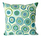 Liora Manne Mystic II Organic Circles Indoor/Outdoor pillow, Spa - 20'' Square